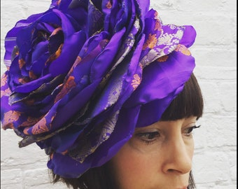 Giant purple flower headband, perfect for a wedding, recycled sari fabric