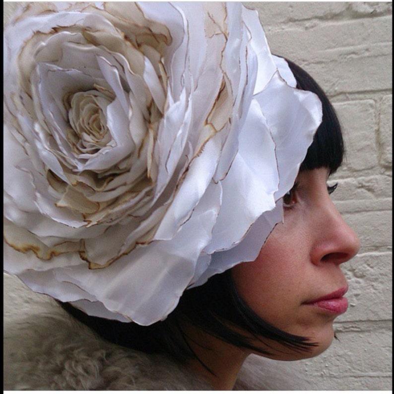 Rustic rose wedding flower headpiece huge vintage recycled image 0