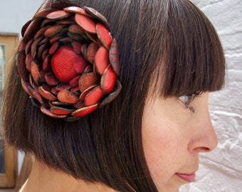 Red leather flower hair clip or corsage