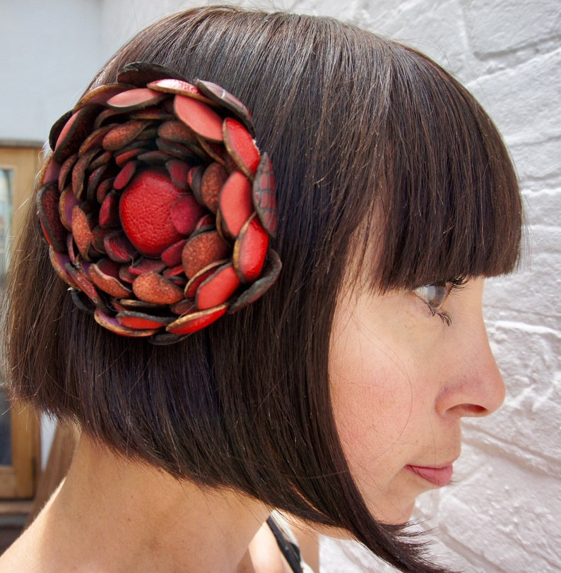 Turquoise recycled vintage leather hair flower clip corsage image 0