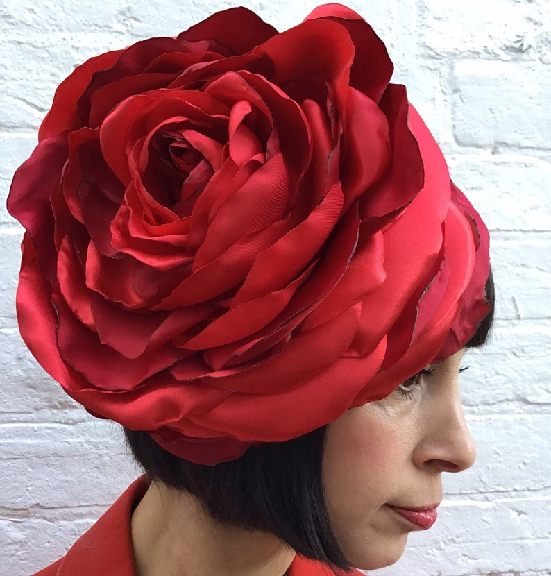 Giant recycled vintage red satin rose flower headpiece wedding image 0