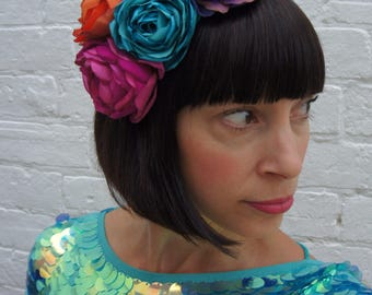 Bright flower headband, for wedding guest, races, party