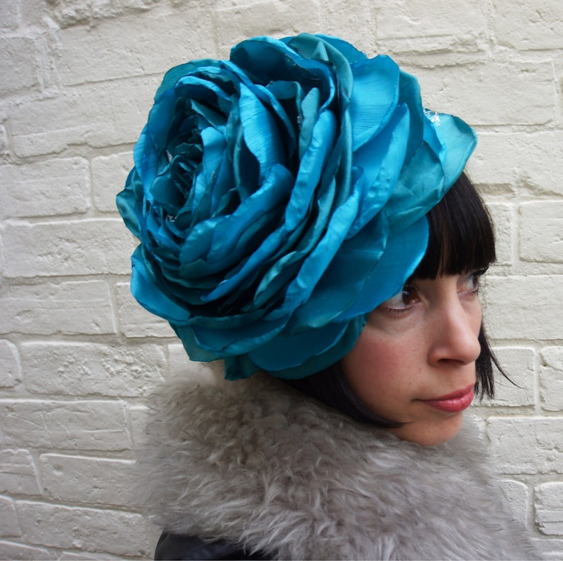 Giant recycled turquoise rose flower headpiece/fascinator image 0