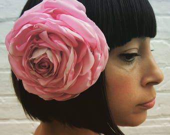 Pastel pink flower hair clip flower or corsage, for a wedding