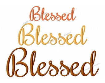 Thanksgiving Embroidery Design - Blessed - 3 Sizes - Instant Download - Digital File