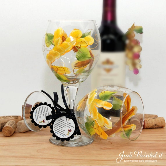 School Bus Yellow Flower Wrap Wine Glass Flower Wine Glass Etsy