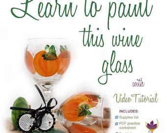 How to paint a pumpkin, pumpkin wine glass, DIY, video tutorial, glass painting video, how to paint glass, fall decor, autumn decor, wine