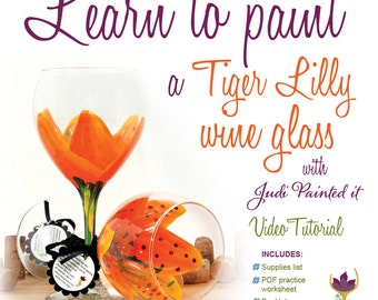How to paint a Tiger Lilly, Tiger Lilly wine glass, wine glass paint, learn to paint glass, how to paint glass, wine glass paintin, DIY