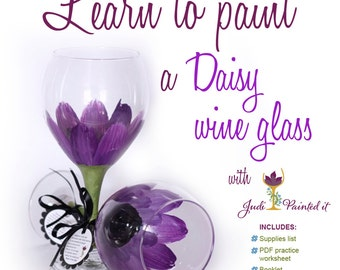 How to paint a Daisy wine glass, DIY, wine glass painting, daisy wine glass, video tutorial, learn to paint glass, how to paint glass, video