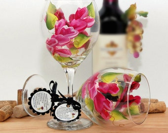 Magenta flower wrap wine glass, painted wine glass, magenta flowers, wine lover gift, personalized gifts, wine glass, wine goblet