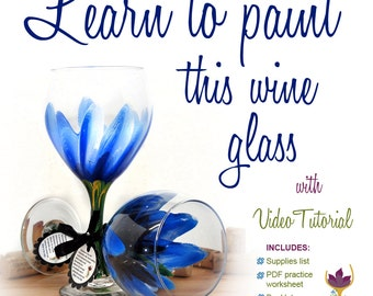 Paint a Hibiscus, blue Hibiscus wine glass, how to paint glass, wine glass painting video, tropical flower, flower wine glass, blue