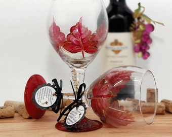 Red Autumn leaves, fall leaves, red leaf, painted wine glass, fall decor, autumn wedding, fall wedding, fall decorations, rustic decor
