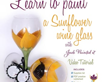 How to paint a sunflower, DIY, paint a sunflower, sunflower wine glass, video tutorial, learn to paint glass, how to paint glass, video
