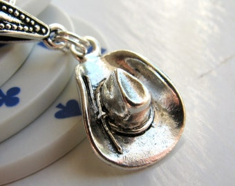 Cowboy Hat necklace, Tierra Cast  antiqued silver pewter, rodeo jewelry, Wild West, cowgirl charm, horseback riding, Stampede
