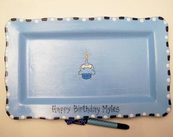 Ceramic RECTANGLE Signature Plate for 1st BIRTHDAY CUPCAKE