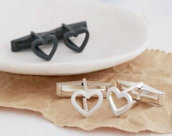 Heart Cufflinks   Geometric Cufflinks for Him   Silver Heart Cuff Links   Wedding Cufflinks for him   Groom Cufflinks   Simple Cufflinks UK