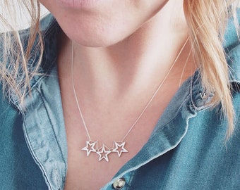 Three Star Necklace. Good Luck Charm For Her