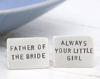 Father of the Bride Cufflinks, Wedding Day Gift, Custom Cufflinks, Silver Cufflinks for Father of the Bride, Wedding gift for Dad, Stamped