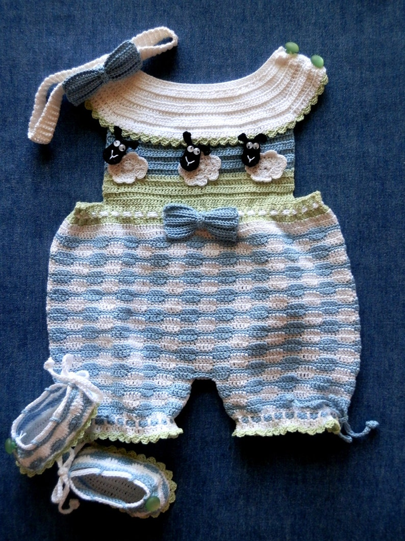 f8743f8f0a6b Newborn Romper Sunsuit Crochet Pattern with Matching Shoes and