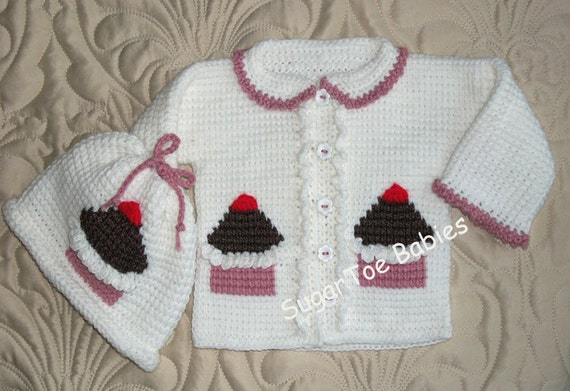 2413c94f7 Baby Girl Sweater Set Cupcakes 12 Months Tunisian Stitch