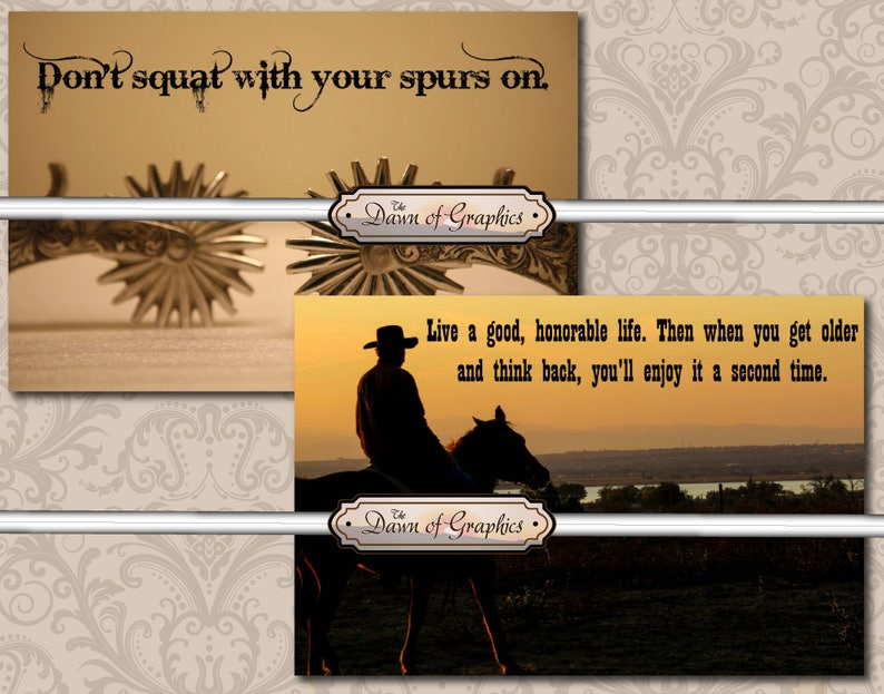 Cowboy Western Quotes Journal Card Quotes Note Card Etsy