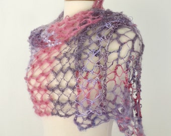 Pink Purple Lace Scarf Lightweight Lacy Scarflette Summer Yarn Necklace