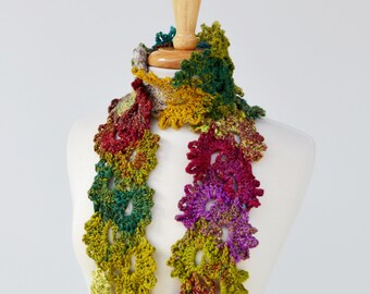 Colorful Crochet Scarf Queen Anne's Lace Color Choices