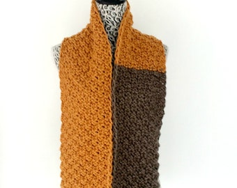 Pumpkin and Taupe Chunky Textured Knit Scarf for Men or Women, Unisex Cotton Wool Knitted Scarves, Autumn Neck Warmer