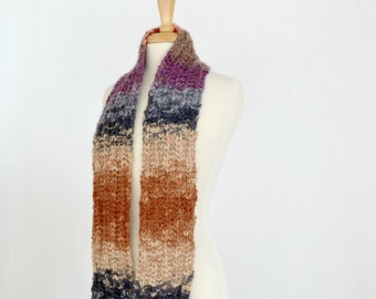 Striped Knit Scarf, Multicolor Knitted Neckwarmer
