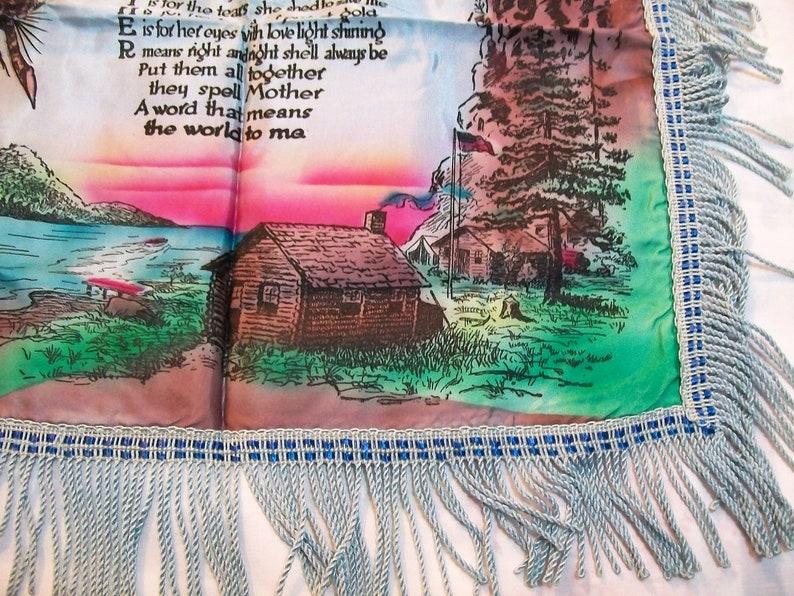 Civilian Conservation Corps Vintage Blue Fringed Mother Poem Pillow Case Vintage Silk Pillow Case with Mother Poem