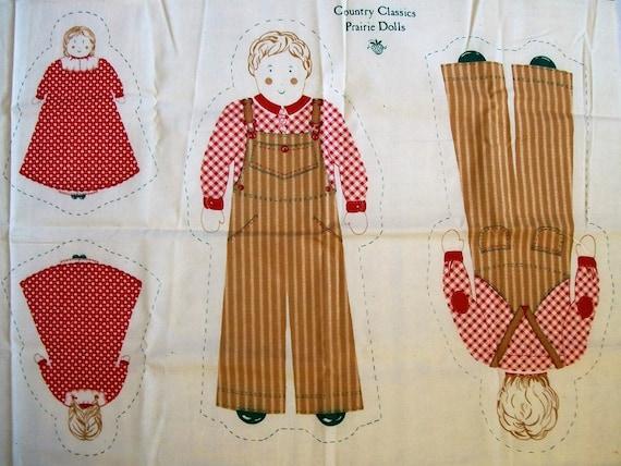Cut Sew and Stuff Fabric Country Classics Praorie Dolls, Boy doll Girl  Doll, old fashion dolls, Make a doll pillow