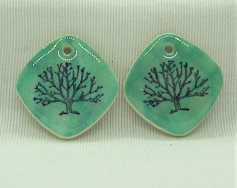 Tree of Life on a Shimmering Green Background Handmade Polymer Clay Jewelry Components