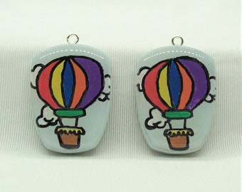 Hot Air Balloon  Handmade Polymer Clay Jewelry Components
