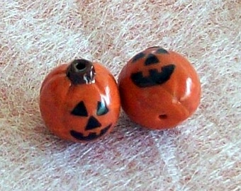 Jack O'Lantern Halloween Polymer Clay Beads Medium Size