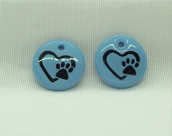 Pet Paw Print Heart Handmade Polymer Clay Jewelry Components
