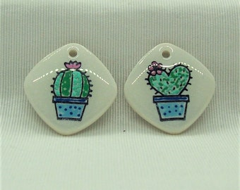 Cacti with Metallic Paint Handmade Polymer Clay Jewelry Components