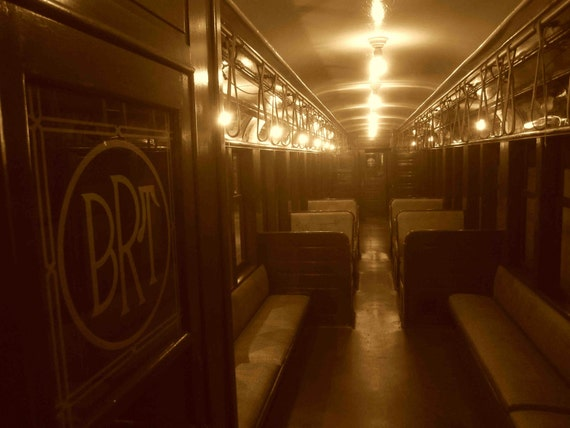 Brooklyn Rapid Transit Subway Car New York City Sepia Etsy