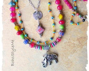 Boho Colorful Fun Beaded Necklace, BohoStyleMe, Bohemian Jewelry, Free Style Modern Hippie Necklace, Mixed Colors
