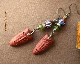 African Tribal Mask, Ancient Look Earrings, Handmade Rustic Primitive, Bohemian Jewelry, bohostyleme, Kaye Kraus