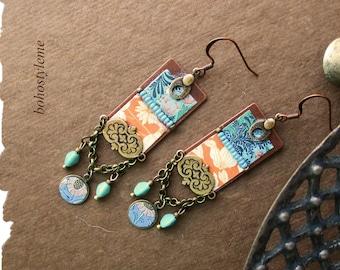 Bohemian Jewelry, Bohemian Earrings, Handmade Vintage Art Nouveau Floral Print Earrings, bohostyleme, Kaye Kraus