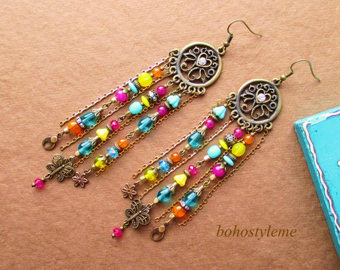 Featured listing image: Bohemian Jewelry, bohostyleme, Boho Colorful Earrings, Long Handmade Chandelier Earrings, Boho Fashion, Kaye Kraus