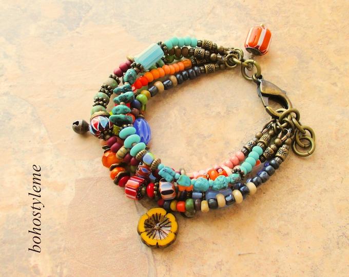 Featured listing image: Bohemian Jewelry, Bohostyleme, Boho Colorful Bracelet, Handmade Beaded Bracelet, Gift For Her, Kaye Kraus