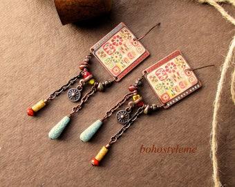 Bohemian Earrings, Handmade Vintage Rustic Look, bohostyleme, Primitive jewelry, Tribal Style Earrings, Kaye Kraus