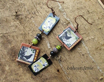 Earrings Bohemian, Raven, Rustic Beaded Earrings, bohostyleme, Asymmetrical Art Earrings, Kaye Kraus