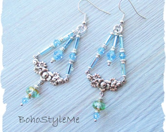 Bohemian Wedding, BohoStyleMe, Boho Bridal Jewelry, Light Blue Crystal Trapeze Beaded Dangle Earrings