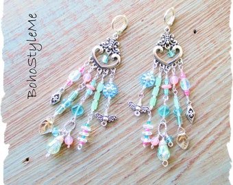 Boho Style Fun Spring Summer Long Pastel Assemblage Chandelier Earrings, BohoStyleMe, Pink and Blue Crystal Earrings