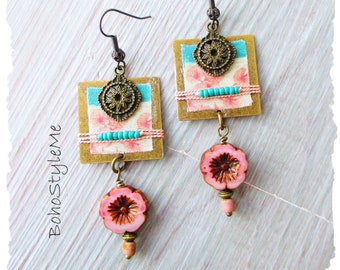 Bohemian Jewelry, BohoStyleMe, Vintage Style Asian Flower Assemblage Earrings, Handmade Dangle Earrings