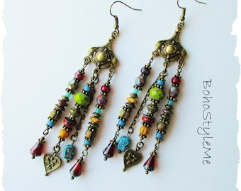 Boho Free Style Earrings, Bohemian Jewelry, BohoStyleMe, Long Mixed Color Earrings, Beaded Assemblage Earrings