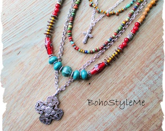 Bohemian Beaded Silver Cross Necklace, BohoStyleMe, Boho Gypsy Cowgirl Jewelry, Multiple Strand Colorful Tribal Necklace