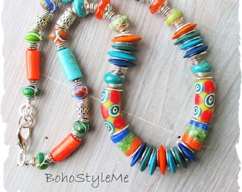 African Tribal Beaded Unisex Necklace, BohoStyleMe, Colorful Handmade Global Chic Necklace, Ethnic Bohemian Jewelry